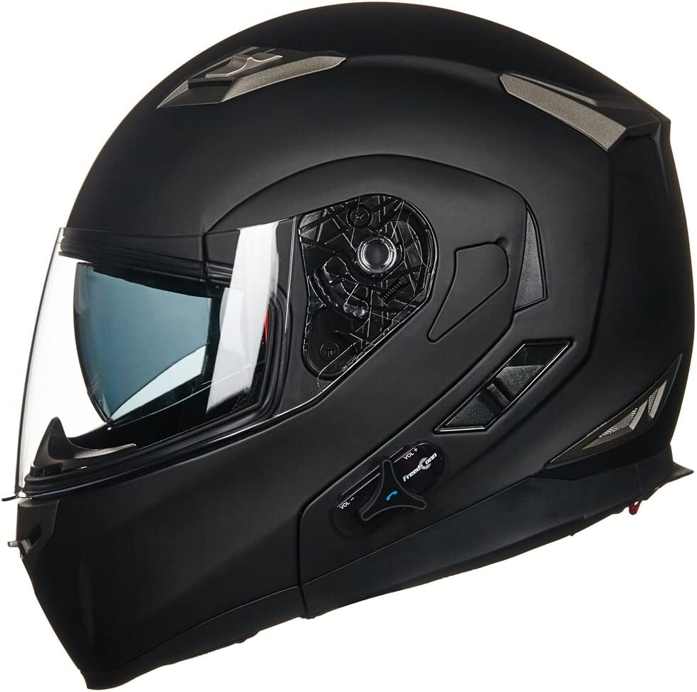 S, RED ILM Motorcycle Dual Visor Flip up Modular Full Face Helmet DOT with 6 Colors