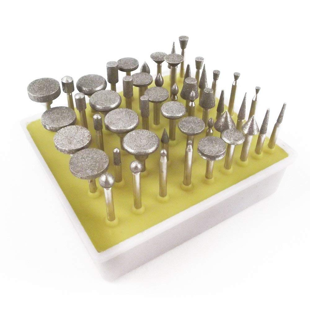 50pc Diamond Burr Bit Set for Rotary Tool 40 Grit Universal Tool UTDB-200