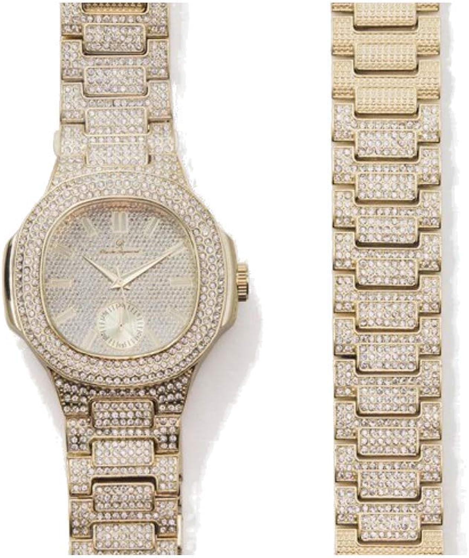 ICE BOX Gold Busto Down CZ Diamantes Reloj Juego de pulsera de eslabones cubanos y reloj AP. Hip Hop Rapper Jewelry Rollie Cuban Bling Pulsera Reloj Mille AP
