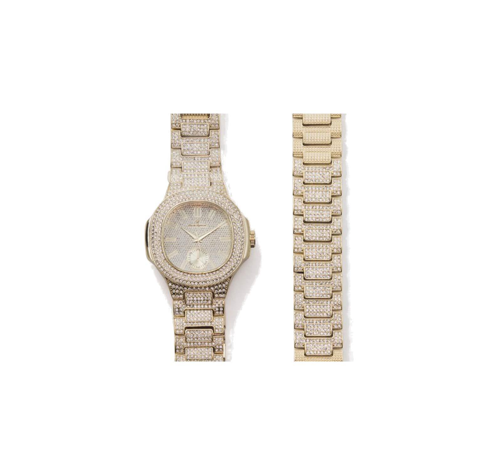 ICE BOX Cuban Link Bracelet & AP Watch Set. Gold Bust Down CZ Diamonds Watch. Hip Hop Rapper Jewelry Rollie Cuban Bling Bracelet. Mille AP Watch by ICE BOX (Image #3)