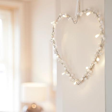 Guirnalda en forma de corazón de 10 LEDs de luz blanca cálida de pila de Lights4fun