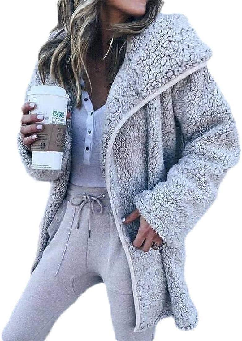 CRYYU Women Outerwear Fleece Cardigan Sherpa Windbreaker Long Sleeve Fuzzy Coats