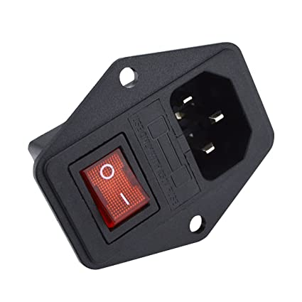 urbest 10a 250v ac rocker switch 3 pin iec320 c14 inlet module plug rh amazon com