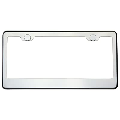 Polish Chrome T304 Stainless Steel License Plate Frame Holder Front Or Rear Bracket with Aluminum Screw Cap: Automotive