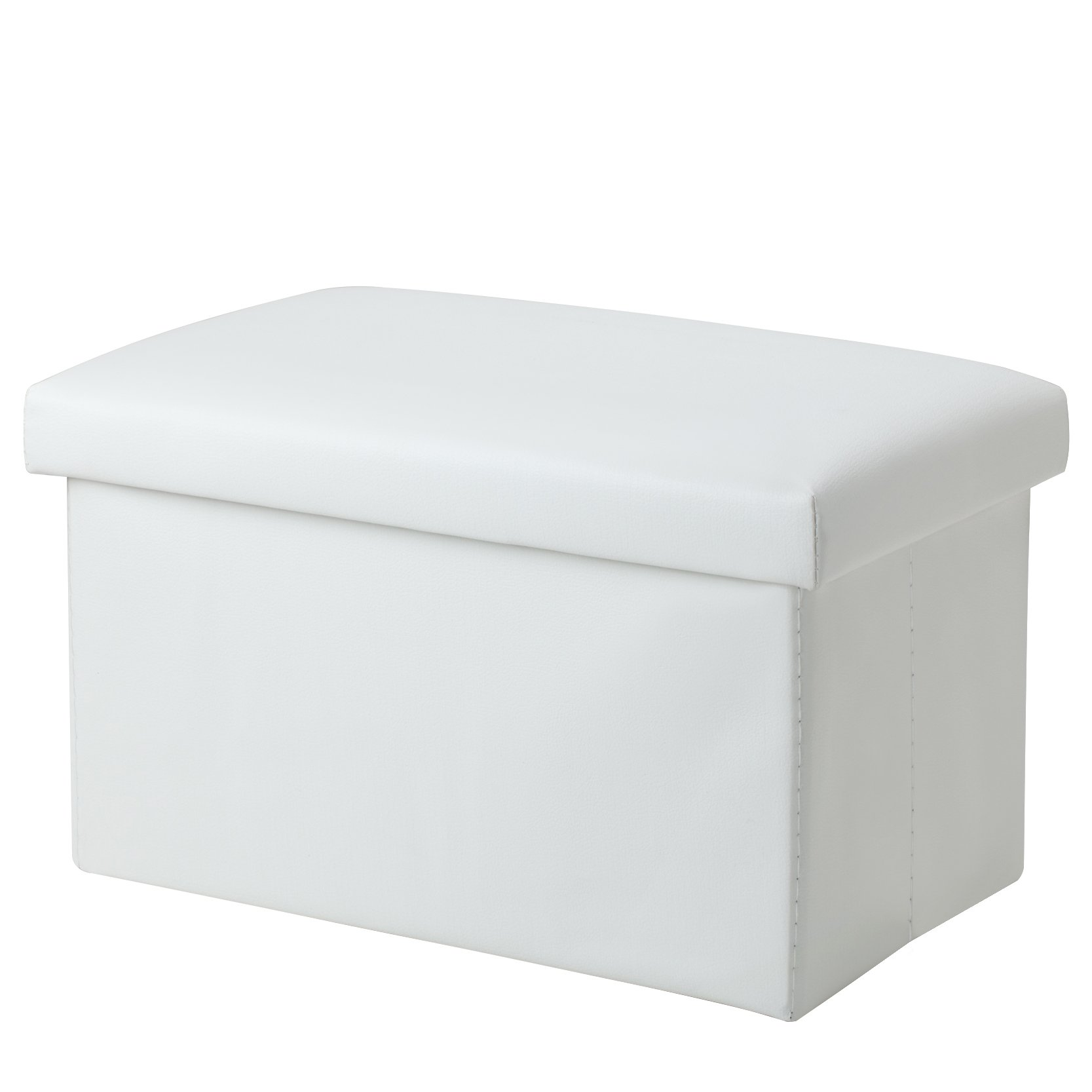 Foldable Leather Storage Ottoman Bench Footrest Stool, Coffee Table Cube For Home, Office, Garden, Traveling, 18''x12''x12'' Folding Organizer Seat Prefect For Kids Adults (White)