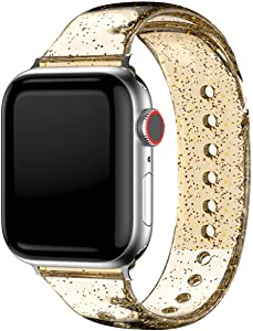 Glitter Bands Compatible with Watch SE Series 42mm 44mm for Women Girls,Sparkle Bling Soft Silicone Band Adjustable Buckle Replacement Strap Wristband Bracelet for iWatch 6/5/4/3/2/1-Gold