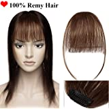 Clip in Fringe Bangs Human Hair 100% Remy Invisible Front Hair Extension with Both Side One Piece Real Fringe Hair Piece for Women Straight (#4 Medium Brown)