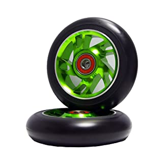 2Pcs Replacement 110 mm Pro Stunt Scooter Wheel with ABEC 9 Bearings Fit for MGP/Razor/Lucky Pro Scooters (Green) Z-FIRST