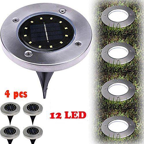 12LED Solar Power Buried Light,Ankola Solar Power Buried Light Under Ground Lamp Outdoor Path Way Garden Decking (12 cm, White)