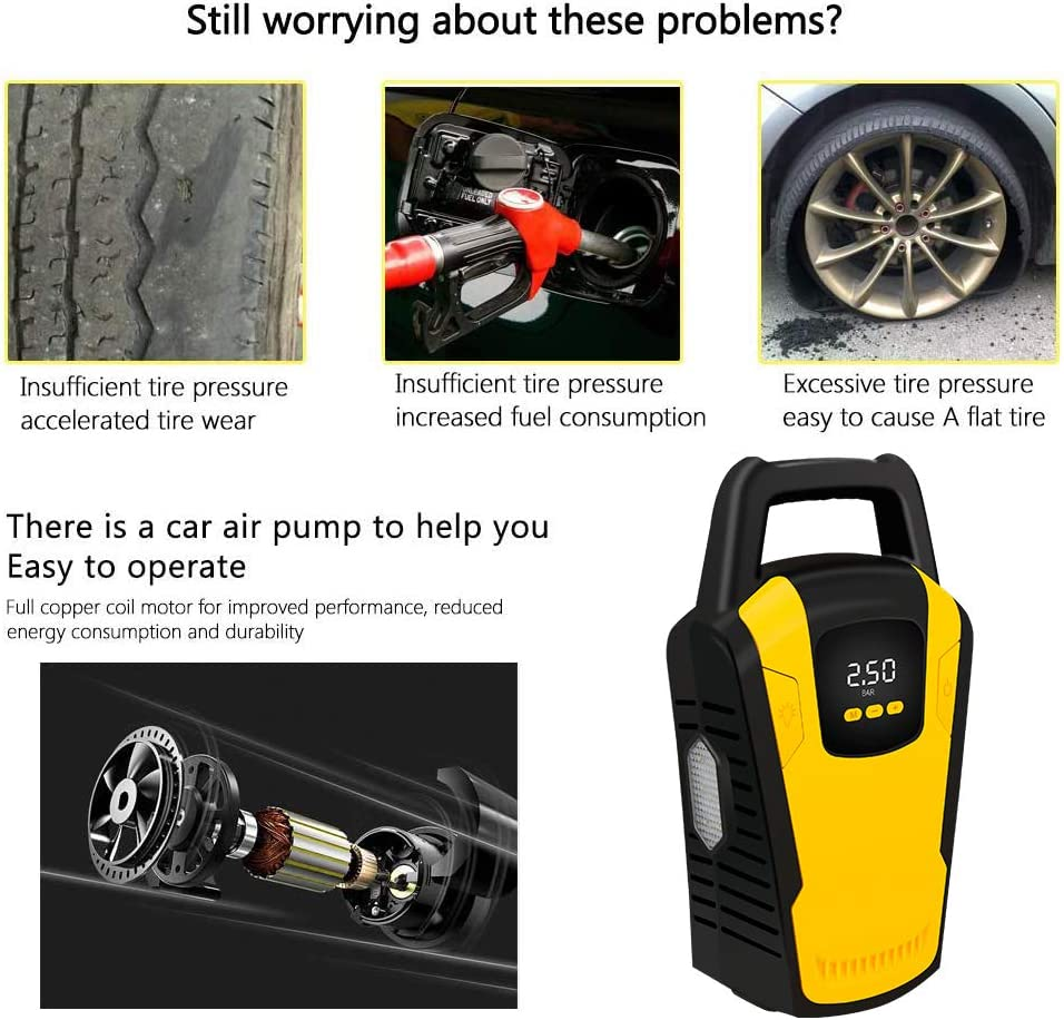 Portable Air Compressor Car Tyre Pump DC 12V 150PSI Digital Air Pump with 35L//Min Larger Air Flow OpenRoad Tyre Inflator LED Light for Car SUV Basketballs Inflatables Bicycles 3 Nozzle Adaptors