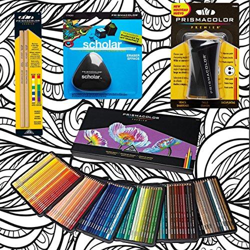 Prismacolor 150 Count Colored Pencils  Triangular Scholar Pencil Eraser  Premier Pencil Sharpener  Colorless Blender Pencils  And Css Adult Coloring Book