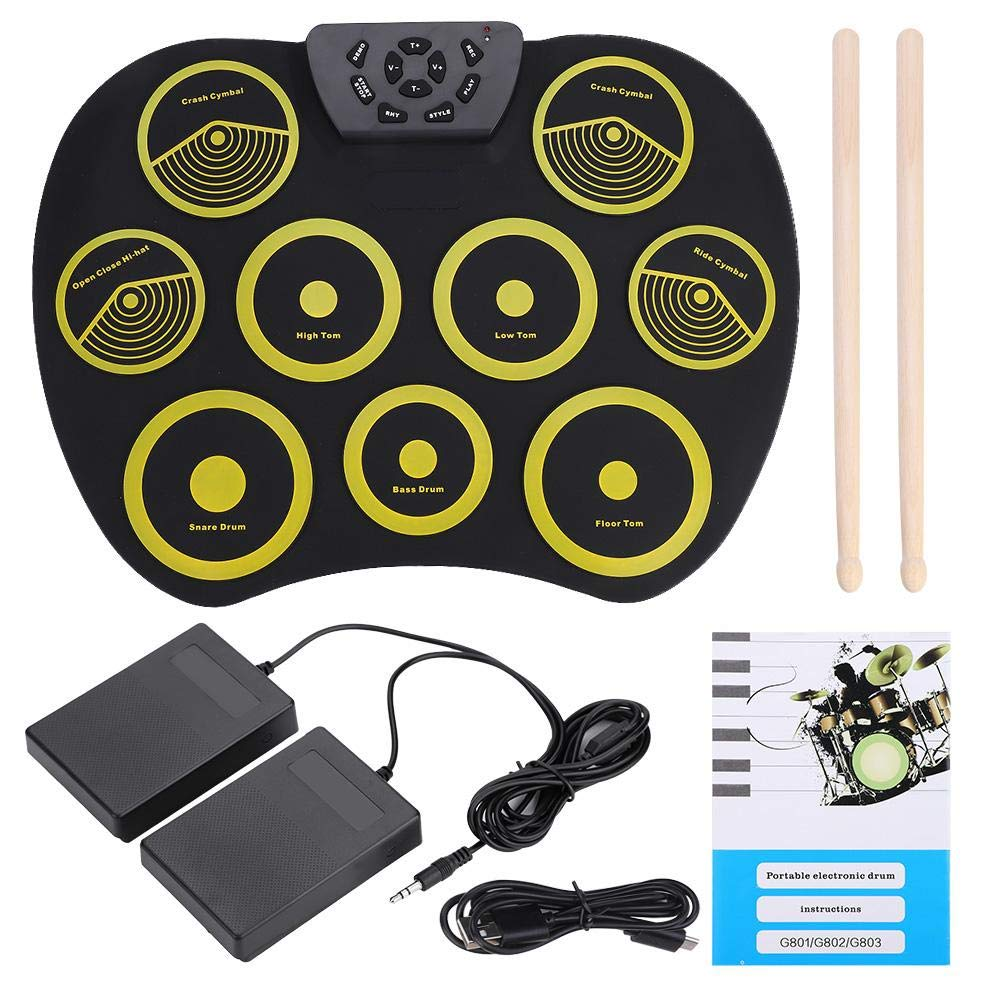 Roll-Up Electronic Drum, Portable Rolling Up Silicone Electronic Drum Pad Set Kit with Pedals Sticks USB Cable, Drum Instruments Toy for Kids by Dilwe