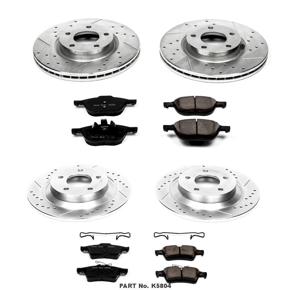 Power Stop K5804 Front /& Rear Brake Kit with Drilled//Slotted Brake Rotors and Z23 Evolution Ceramic Brake Pads