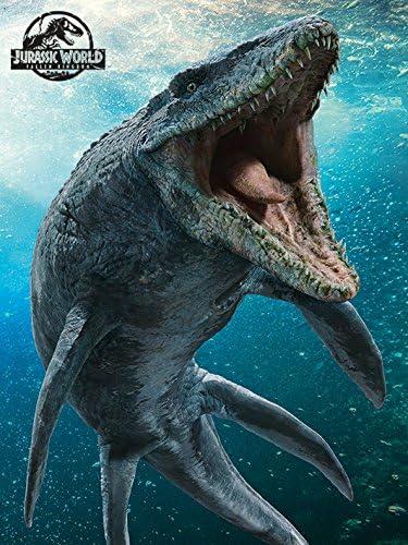 GIRDSS Tiefsee Mosasaurus Hai Bild Film Jurassic World Poster und Drucke Seidenmalerei Leinwand Wandkunst-60X90cm ohne Rahmen