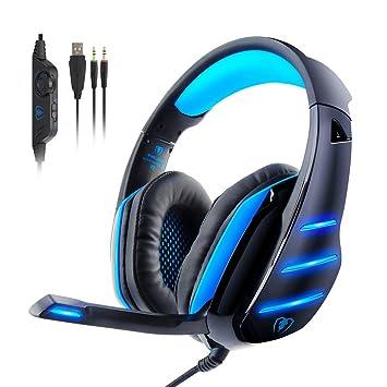 Beexcellent GM-3 Auriculares para juegos con micrófono Luz LED Auriculares con cable sobre el oído Reducción de ruido estéreo Auricular para juegos ...