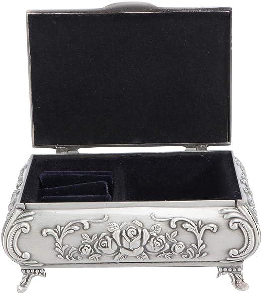 OUNONA - Joyero de metal tallado en rosa rectangular con anillo, organizador de anillos, caja de almacenamiento vintage para el día de la madre, regalo para mujeres y niñas: Amazon.es: Juguetes y