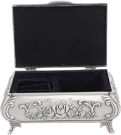 OUNONA - Joyero de metal tallado en rosa rectangular con anillo ...
