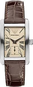 ساعة امبوريو ارماني كلاسيك بيج للنساء بسوار من الجلد - AR0155