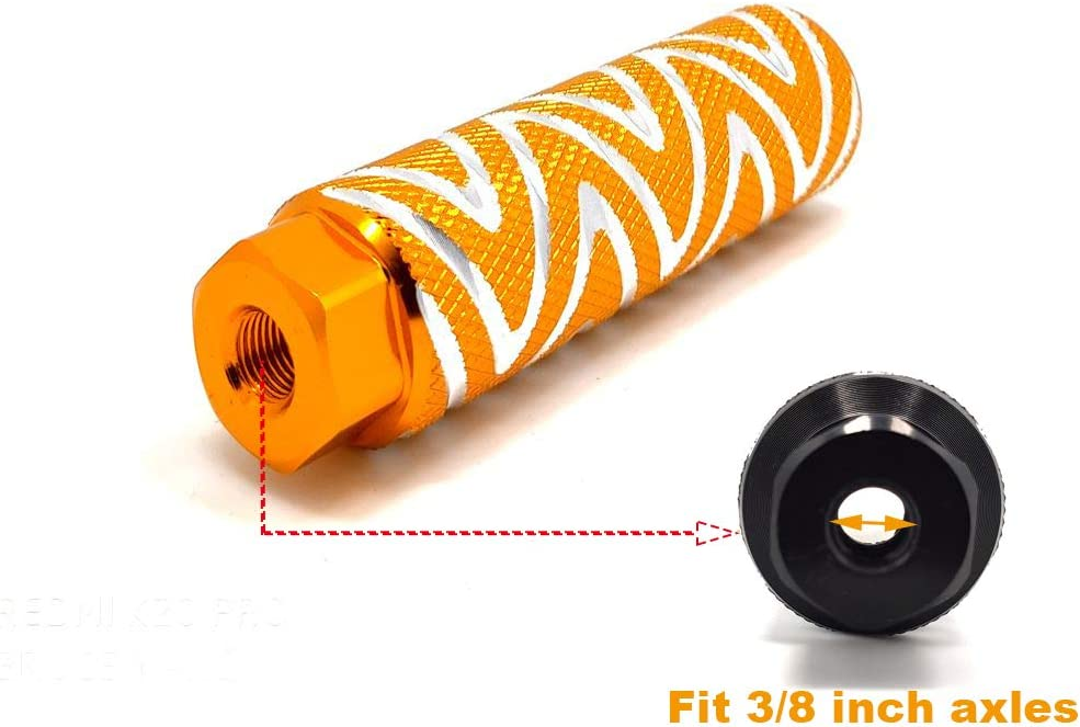 Mantain Bike Foot Pegs,One Pair 4 Length Aluminum Alloy Cylinder Anti-Skid S Stripes Fit 3//8 inch Axles