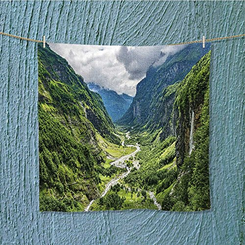 - AuraiseHome fast dry towelgreen river valley canyon wide summer panorama alpine mountain landscape for Maximum Softness W9.8 x W9.8