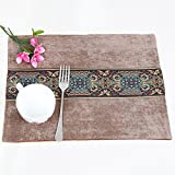 MOMO European Style Simple Slip Mat Fabric Dining Pad 4 Pieces,EE