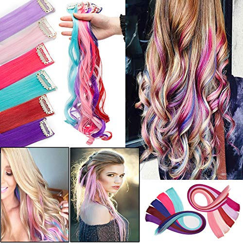 Colorful Highlight Single Clip in Streak Hair Extensiosns for Party Kids Rainbow Color Synthetic Hairpiece 22