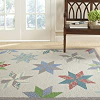 Safavieh MSR3751C Martha Stewart Collection Wool Area Rug, 5-Feet by 8-Feet, Lemoyne Star Pewter Grey