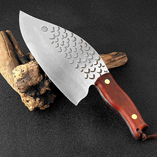 Best Quality - Kitchen Knives - 8-Inch Blade Handmade Forged Clad Steel Kitchen Knife 845 g Big & Heavy Chef's Meat Cleaver Butcher Fish Knife Cutter Wood - by HURA - 1 PCs ()