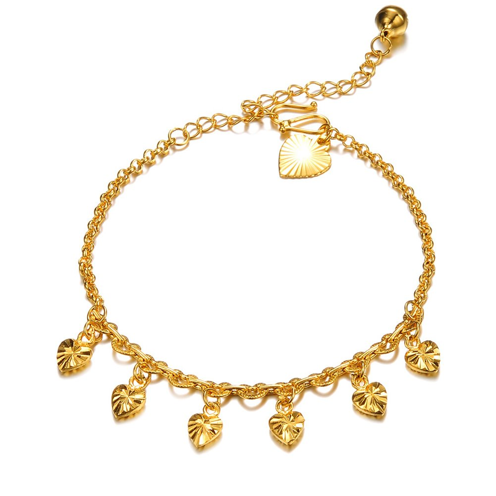 ONEWORLD Women 18K Gold Plated Anklet Bells Anti-Allergy Anti-Color Fading