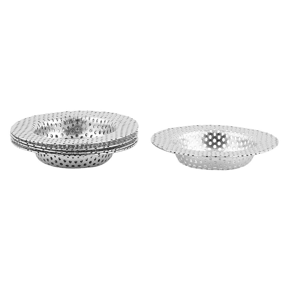 uxcell Stainless Steel Home Round Shaped Sink Basin Rubbish Filter Strainer Stopper 5pcs
