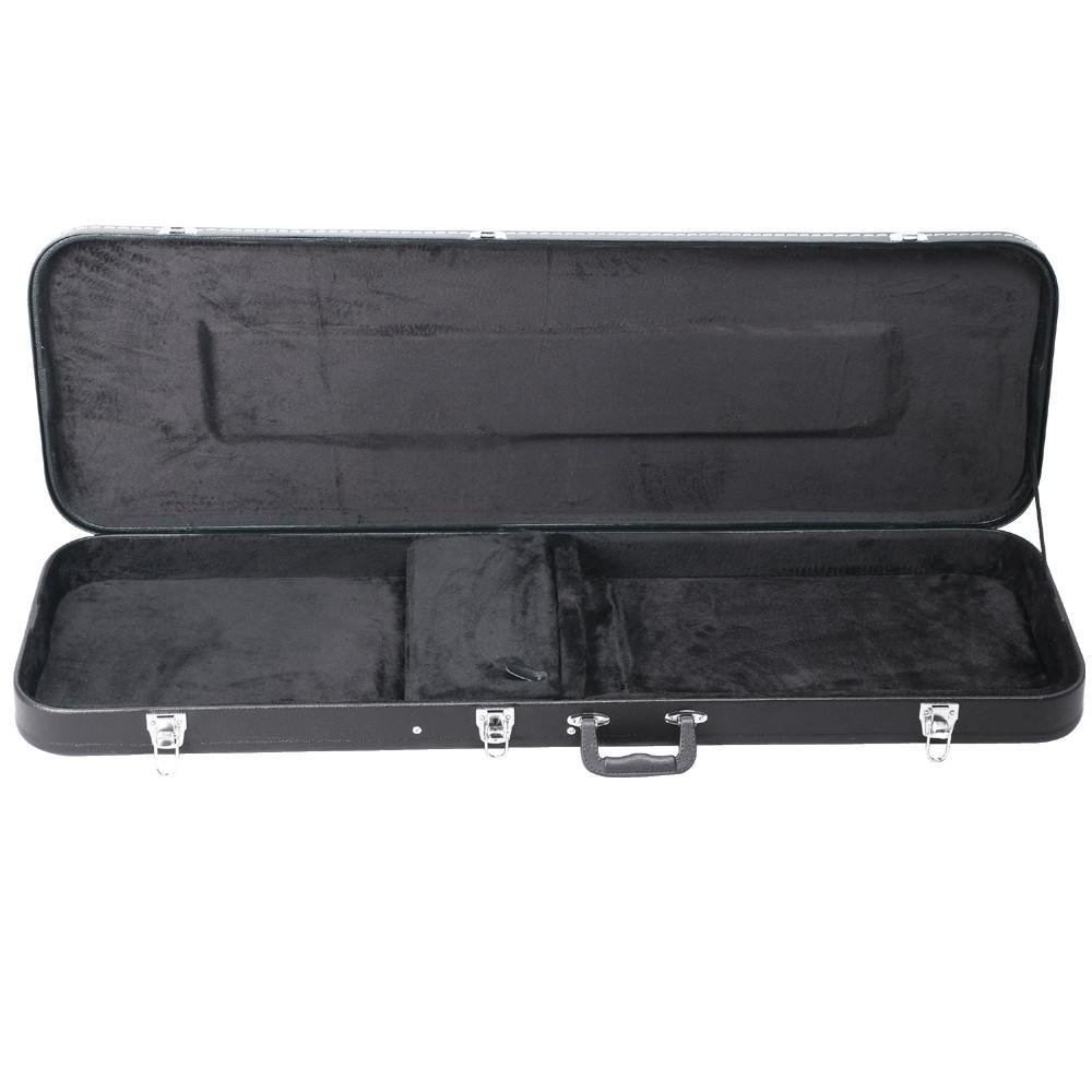 electric bass guitar hard case locking large storage compartment wood black new ebay. Black Bedroom Furniture Sets. Home Design Ideas