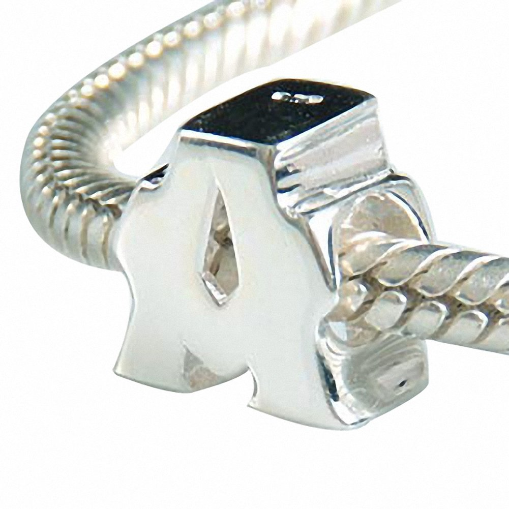 Hoobeads Authentic 925 Sterling Silver Letter Initial A-z Alphabet Beads Fits European Bracelet Charms HB0485