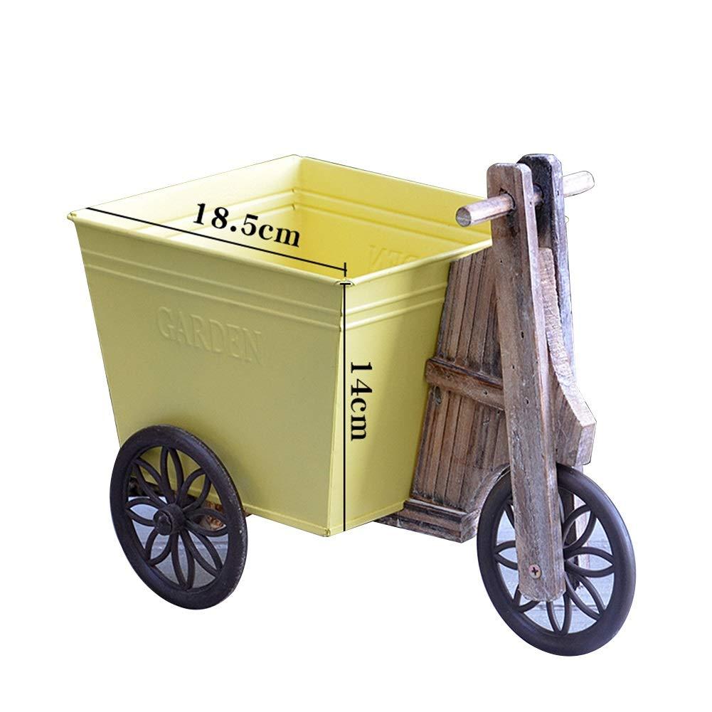 Portavasi Scaffali Porta Piante Auto Rurale Tin Bucket Decorazione Negozio di Fiori Pianta in Vaso Desktop Tricycle Cuciture in Ferro Legno Tingting (colore   Giallo, Dimensioni   29.3  25cm)