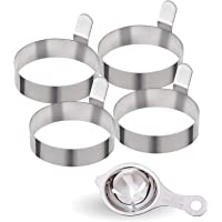 All Prime Stainless Steel Egg Rings 4 Pack - Includes Free Egg Separator ($7 Value)- Stainless Steel Egg Shaper –Easy Clean (Dishwasher) Cooking Rings – 3-inch Egg Rings – Egg Rings for Frying Eggs