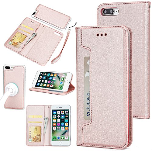 (Scheam iPhone 7 Plus iPhone 8 Plus Card Holder Case, iPhone 7 Plus iPhone 8 Plus Wallet Case Slim, iPhone 7 Plus iPhone 8 Plus Folio Leather case Cover Shockproof Case with Credit Card Slot, Durable)