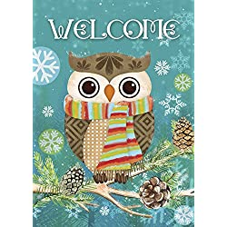 "Morigins Cute Owl Christmas Holly Winter Double Sided Garden Flag 12.5""x18"""