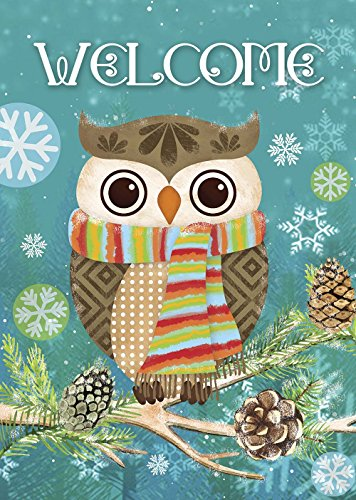 Morigins Cute Owl Christmas Holly Winter Double Sided Garden Flag 12.5