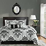 Madison Park 7 Piece Black and White Damask Floral Medallion Bedding CAL KING Comforter