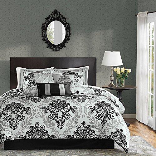 Madison Park 7 Piece Black and White Damask Floral Medallion Bedding KING Comforter (Madison Crib Set)