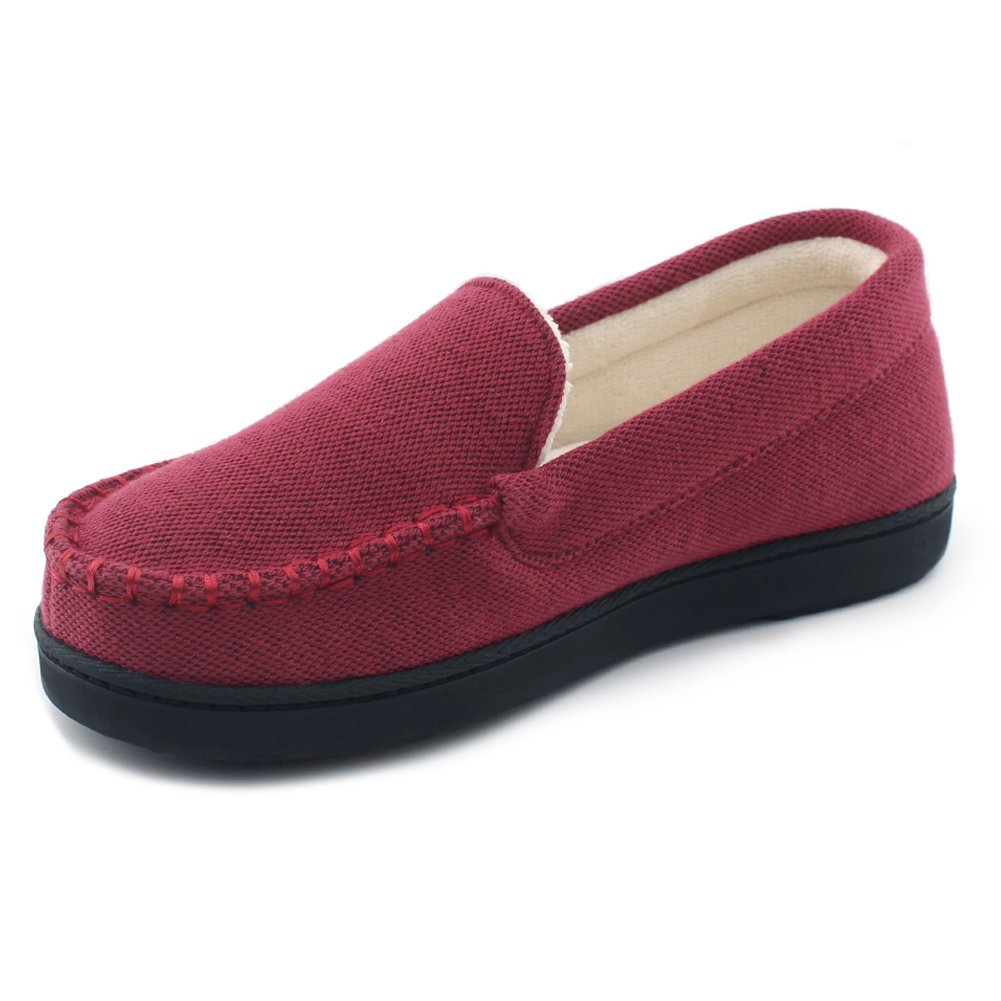 Cozy Niche Women's Moccasin Slippers, Anti-Slip House Shoes, Indoor Outdoor Rubber Sole Loafers (10 B(M) US, Wine)