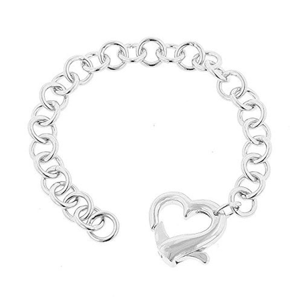 Covet Rhodium Plated Heart Bracelet