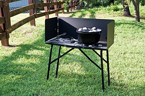 Lodge Steel Collapsible Outdoor Cooking Table, 16 Inch x 32 Inch x 26 Inch, Black