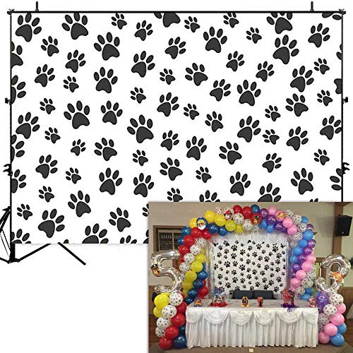 Allenjoy 7x5ft Puppy Dog Paw Cartoon Backdrop for Boys Birthday Pet Theme Party Banner Kids Photography Background Cake Table Decorations Photobooth Props