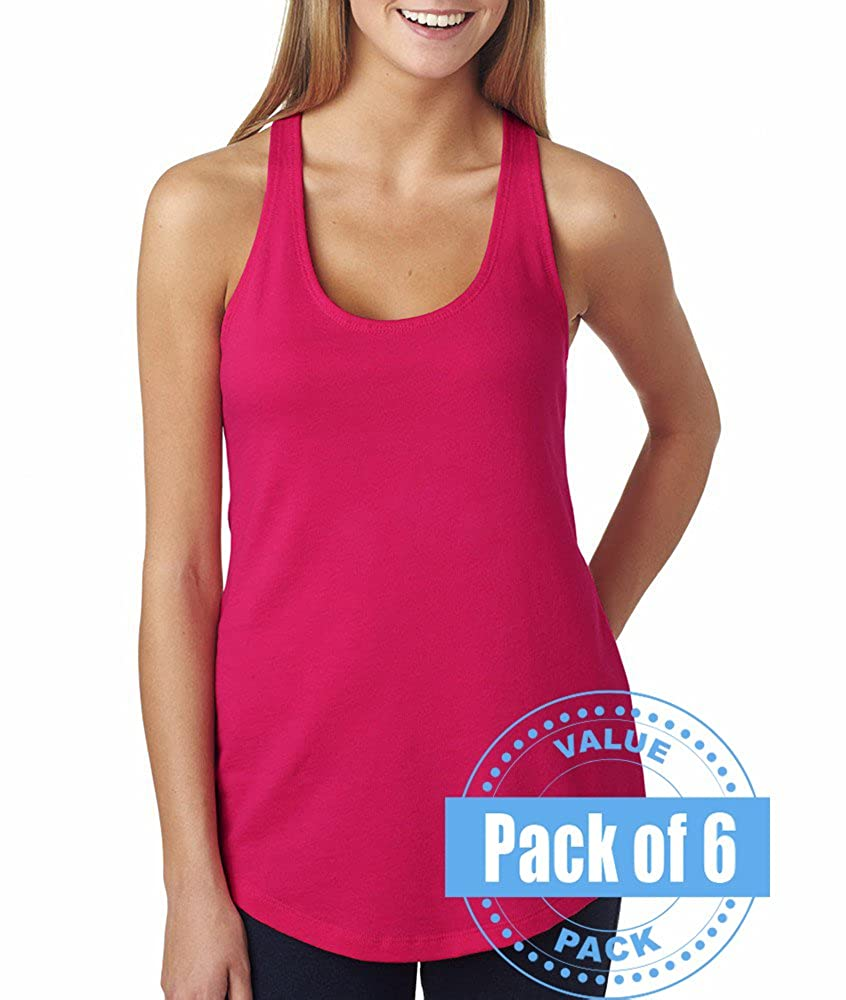 6 Pack Next Level Womens The Racerback Terry Tank Top 6933-Raspberry