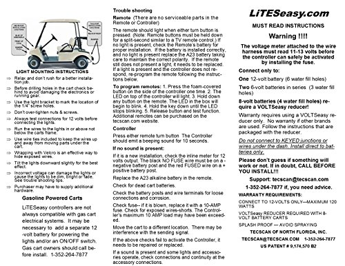 LiTESeasy Deluxe Wireless Remote Control Golf Cart LED Light &Turn Signal Kit w/Free Pocket Remote by TecScan (Image #5)