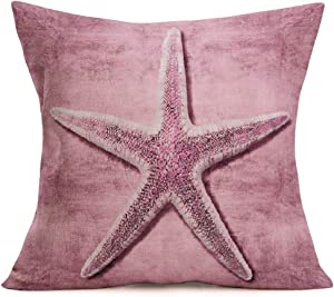 Smilyard Pink Starfish Throw Pillow Covers 18x18 Inch Vintage Marine Life Decorative Beach Pillows Cover Cotton Linen Square Outdoor Coastal Cushion Cover Decor Home Sofa Couch (Pink Starfish)