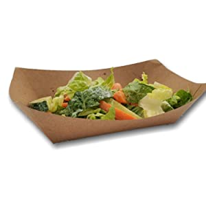 Paper Food Boats Trays - 1 Pound Capacity Oil Proof Easy to Handle (Brown, 25)