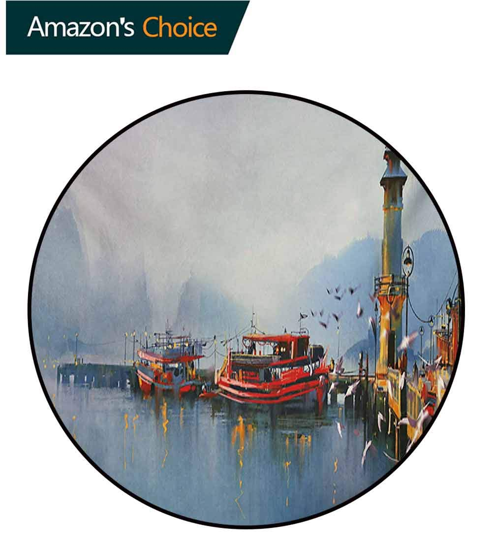 RUGSMAT Country Modern Machine Washable Round Bath Mat,View of A Misty Morning at The Harbor with Boats and Birds in Old Fishing Town Art Non-Slip Soft Floor Mat Home Decor,Round-71 Inch by RUGSMAT (Image #2)