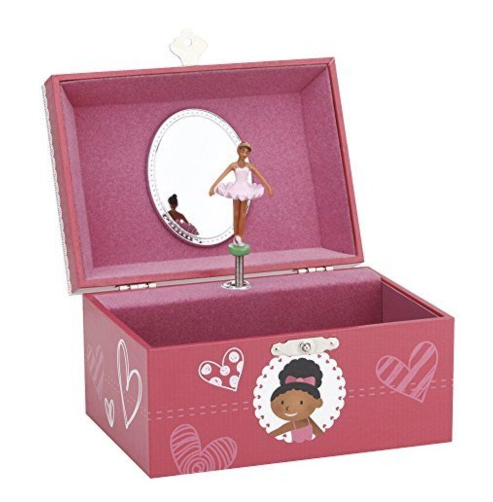 JewelKeeper Girl's Musical Jewelry Storage Box with Dancing Ballerina, Pretty Hearts Design, Swan Lake Tune