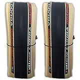 Vittoria Corsa G+ Competition Graphene 2.0 700 x 25 Black Tan 320 TPI Road Bike Clincher Tire - Pair (2 Tires) w/Decal